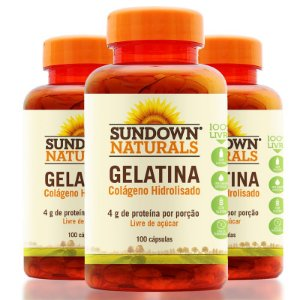 Kit - 3 Gelatin Sundown Colágeno 100 Cápsulas