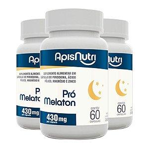 Kit 3 Pró Melaton 430mg Apisnutri 60 cápsulas