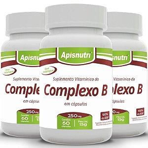 Kit 3 Complexo B Apisnutri 60 cápsulas