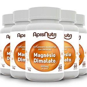 Kit 5 Magnésio dimalato 600mg Apisnutri 60 cápsulas