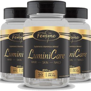 Kit 3 Lumini care cabelos unhas e pele Femme 60 cápsulas