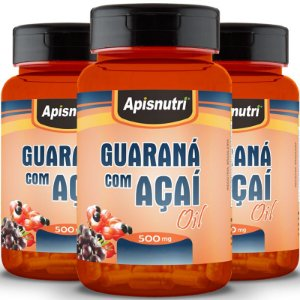 Kit 3 Guaraná com açaí 500mg Oil Apisnutri 120 cápsulas