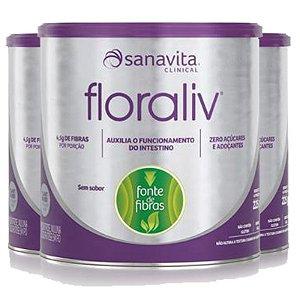 Kit 3 Floraliv Sanavita regulador intestinal 225g