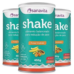 Kit 3 Shake Subs. Refeição Sanavita frutas tropicais 450g