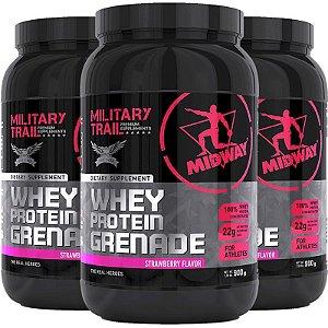 Kit 3 Whey protein grenade Midway 900g morango