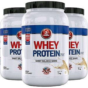 Kit 3 Whey Protein PRE Midway 1kg Baunilha