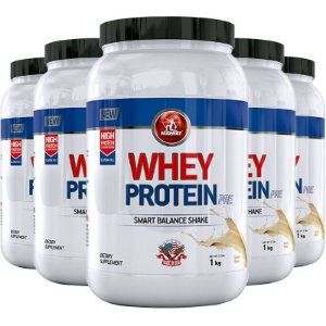 Kit 5 Whey Protein PRE Midway 1kg Baunilha