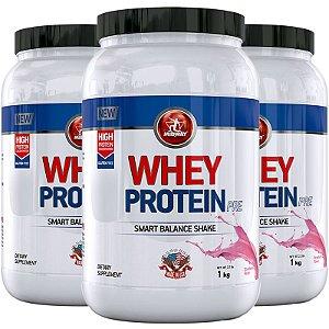 Kit 3 Whey protein PRE Midway 1kg Morango