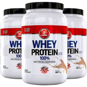 Kit 3 Whey Protein USA Midway 907g Baunilha