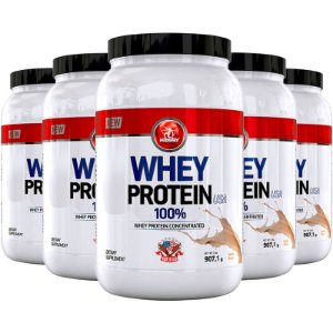 Kit 5 Whey protein USA Midway 907g Baunilha