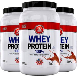 Kit 3 Whey protein USA Midway 907g Chocolate