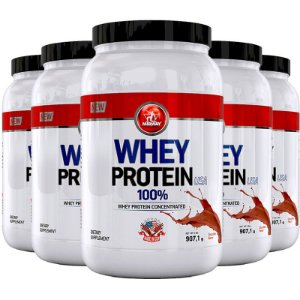 Kit 5 Whey protein USA Midway 907g Chocolate