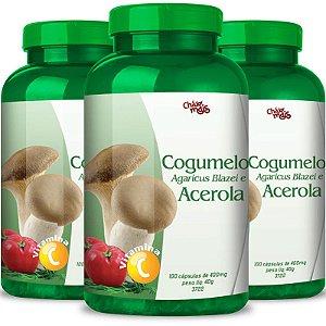 Kit 3 Cogumelo Agaricus Blazei + Acerola Chá mais 100 cápsulas