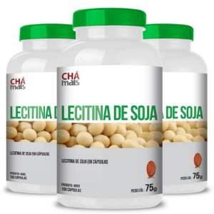 Kit 3 Lecitina de soja 500mg Chá mais 100 cápsulas