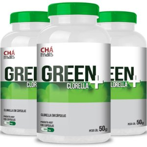 Kit 3 Clorella Green 500mg Chá Mais 100 cápsulas