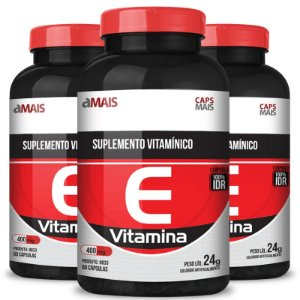 Kit 3 Vitamina E 400mg Chá mais 60 cápsulas