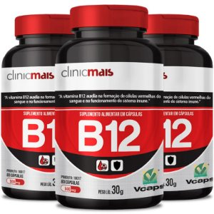 Kit 3 Vitamina B12 500mg Chá mais 60 cápsulas