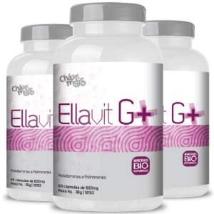 Kit 3 Ellavit G+ Multivitamínico 600mg Chá Mais 60 cápsulas
