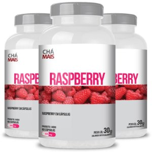 Kit 3 Raspberry 500mg Chá mais 60 cápsulas