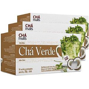 Kit 3 Chá verde chá mais sabor coco 30 sachês