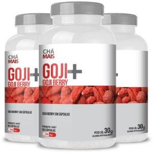 Kit 3 Goji Berry Goji + 500mg Chá Mais 60 cápsulas