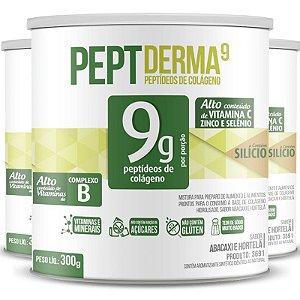 Kit 3 Colágeno Peptderma 9 Chá Mais Abacaxi C/ Hortelã 300g