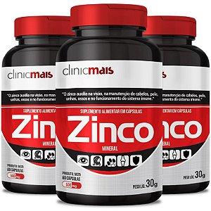 Kit 3 Zinco 500mg Chá mais 60 cápsulas