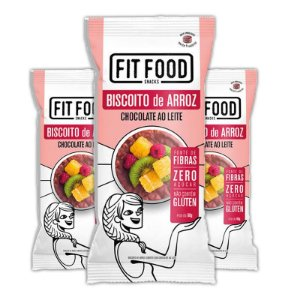 Kit 3 Biscoito de arroz c/ chocolate ao leite FIT FOOD 60g