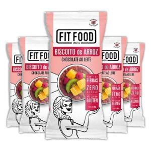 Kit 5 Biscoito de arroz c/ chocolate ao leite FIT FOOD 60g