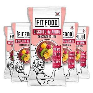 Kit 5 Biscoito de arroz c/ chocolate ao leite FIT FOOD 60g