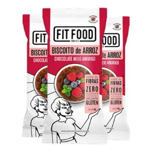 Kit 3 Biscoito de arroz c/ chocolate amargo FIT FOOD 60g