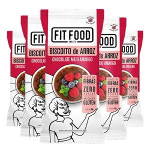 Kit 5 Biscoito de arroz c/ chocolate amargo FIT FOOD 60g