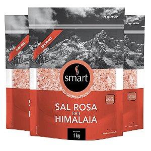 Kit 3 Sal rosa do himalaia grosso SMART 1kg