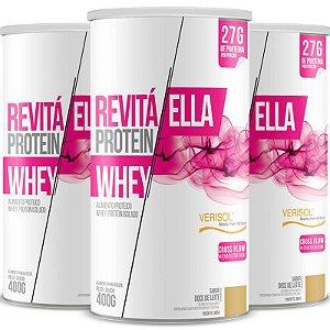 Kit 3 Whey protein isolado Ella 27g Revitá doce de leite 400g