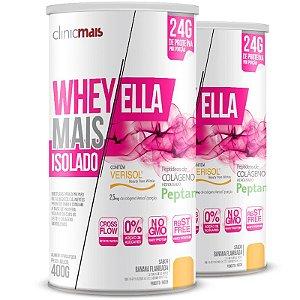 Kit 2 Whey protein isolado Ella 27g Revitá banana flambada 400g
