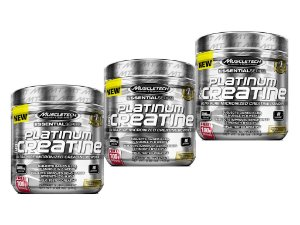 KIT 3 PLATINUM CREATINA 100% PURA MUSCLETECH 400G