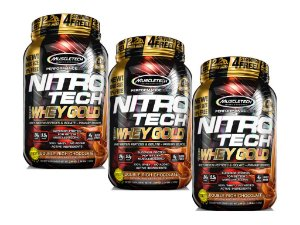KIT 3 NITRO TECH WHEY GOLD MUSCLETECH CHOCOLATE 1,02KG