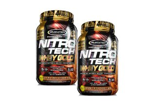 KIT 2 NITRO TECH WHEY GOLD MUSCLETECH CHOCOLATE 1,02KG