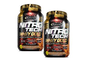 KIT 2 NITRO TECH WHEY GOLD MUSCLETECH CHOCOLATE PEANUT 1,02KG