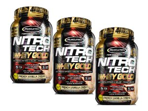 KIT 3 NITRO TECH WHEY GOLD MUSCLETECH FRENCH VANILLA CREME 1,02KG