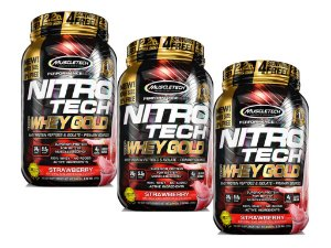 KIT 3 NITRO TECH WHEY GOLD MUSCLETECH STRAWBERRY 999G