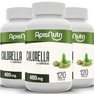 Kit 3 Chlorella Apisnutri 400mg 120 cápsulas