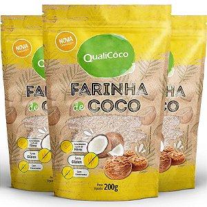 Kit 3 Farinha de coco Qualicôco 200g