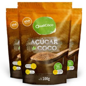 Kit 3 Açúcar de coco natural Qualicoco 150g