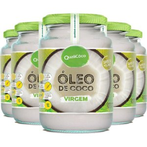 Kit 5 Óleo de coco virgem Qualicôco 500ml
