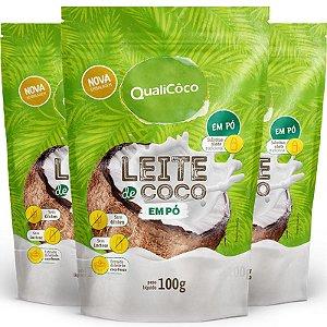 Kit 3 Leite de coco em pó Qualicôco 100g