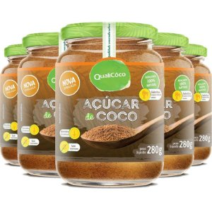 Kit 5 Açúcar de coco natural Qualicôco 280g