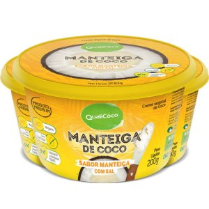 Kit 3 Manteiga de coco natural com sal Qualicoco 200g