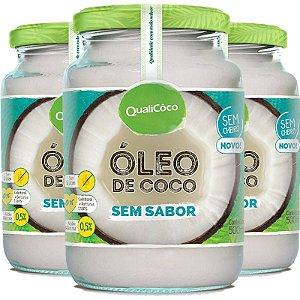 Kit 3 Óleo de coco sem sabor Qualicôco 500ml