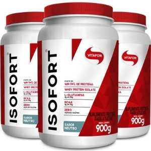 Kit 3 Whey protein Isofort Vitafor neutro 900g